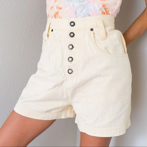 Vintage Button Fly High Waisted Denim Shorts